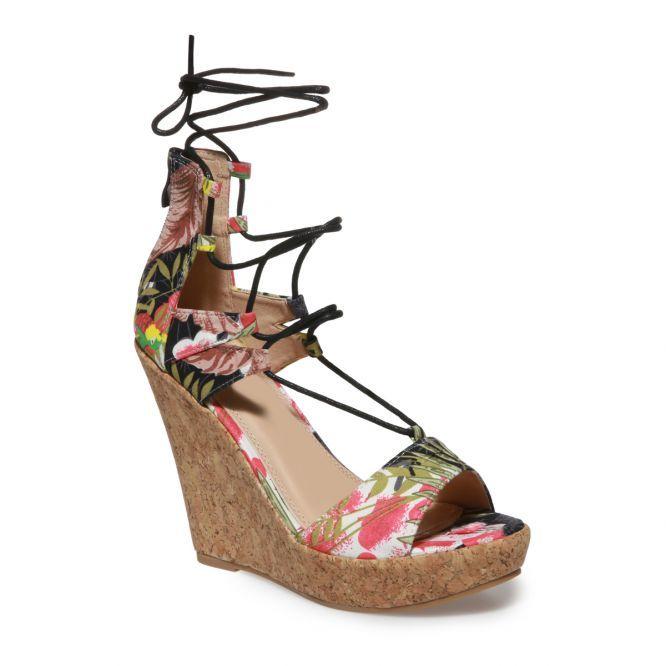 Sandales compensées noires imprimé tropical