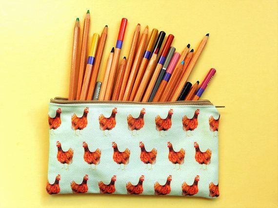 Chicken pencil case  chicken pencil pouch  chicken mum gift