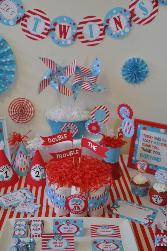 Twins baby shower dr seuss thing 1 thing 2 by for Baby shower decoration twins
