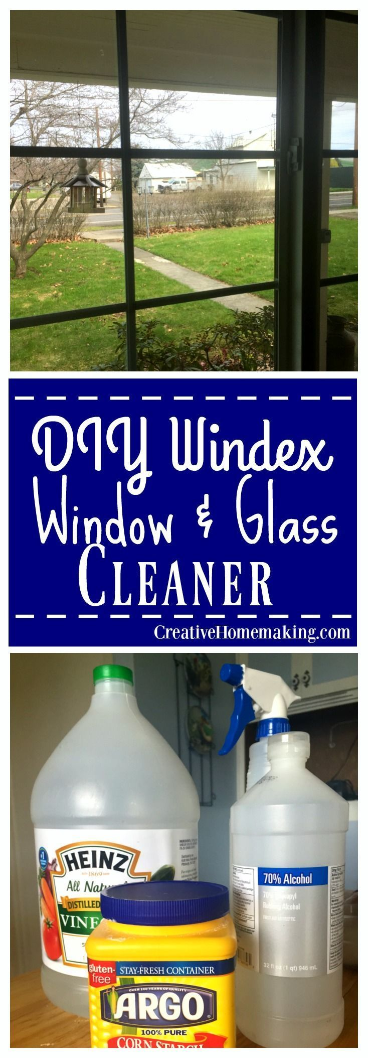 This DIY window and glass cleaner cleans as well as Windex. It is also non-toxic and costs less than fifty cents a bottle to make.