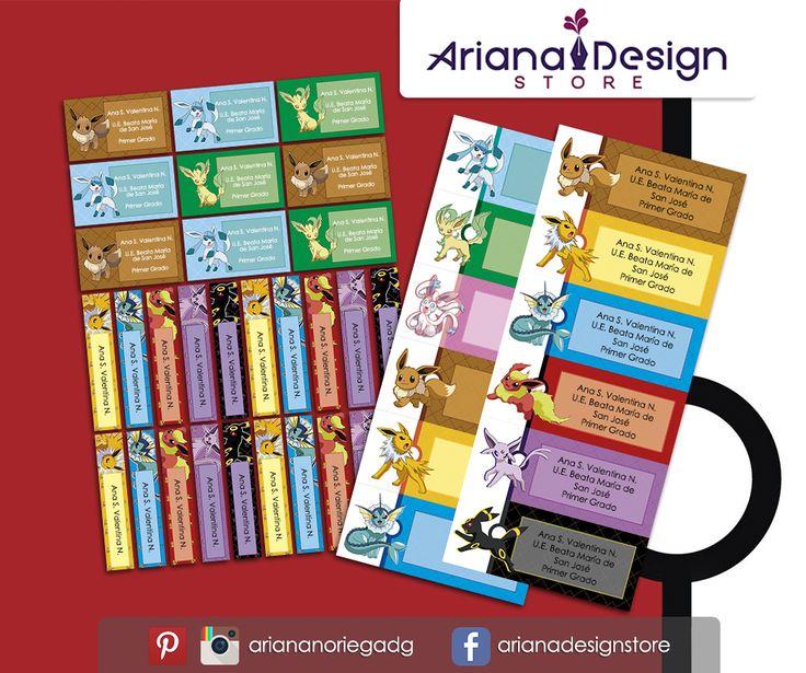 Kit Imprimible de #etiquetas personalizadas con el motivo #Eevee evoluciones. | 3 tamaños: 9 x 3,5 cm, 5 x 1 cm y 5 x 3 cm. |   Personalized and printable #labels pack - #Pokemon Eevee evolutions.  | 3 sizes: 9 x 3,5 cm, 5 x 1 cm and 5 x 3 cm. |   Tienda/Shop: https://arianadesignstore.etsy.com