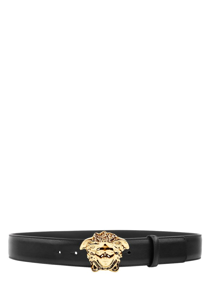 Versace Palazzo Belt with Medusa Buckle for Men | UK Online Store. Palazzo Belt with Medusa Buckle from Versace Men's Collection. The emblem of the Versace Maison: a 3D Medusa is the buckle on this leather belt, part of the Palazzo line.