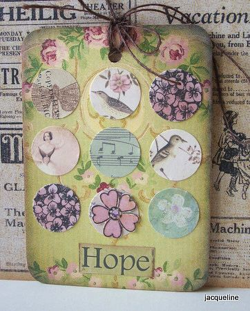 From Tag Tuesday, made with scraps punched out into circles
