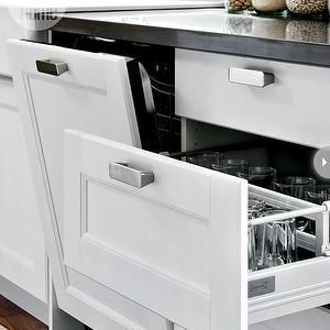 I am loving the in-the-drawer organizers if they are practical for glasses, plates, etc., etc.  I like drawers so much more than cabinets!  Also, I LOVE that dishwasher!  subway tile, gray subway tile backsplash, gray subway tile kitchen, black countertops. ikea domsjo, ikea dual sink, double bowl sink, ikea double bowl sink, ikea faucet, ikea kitchen faucet, domsjo double bowl, domsjo double bowl sink, , Ikea Lindingo Door, Ikea Tyda Handle,