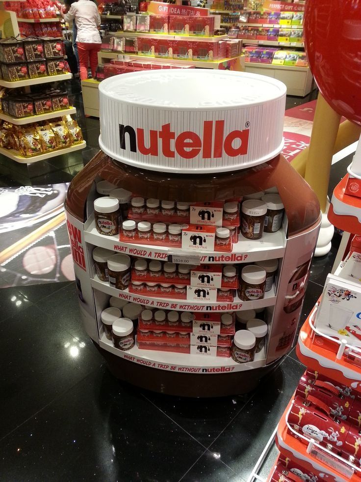 Very clever Nutella point of display. It is similar to the crayola one in the fact that it resembles the product being sold. If I was in that store I would certainly notice the display and point it out. The display is also very good because it sell more than one product from the brand.