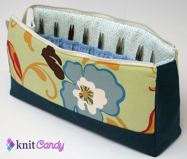 Interchangeable knitting needle pouch, open view, by MissCeceP, via Flickr