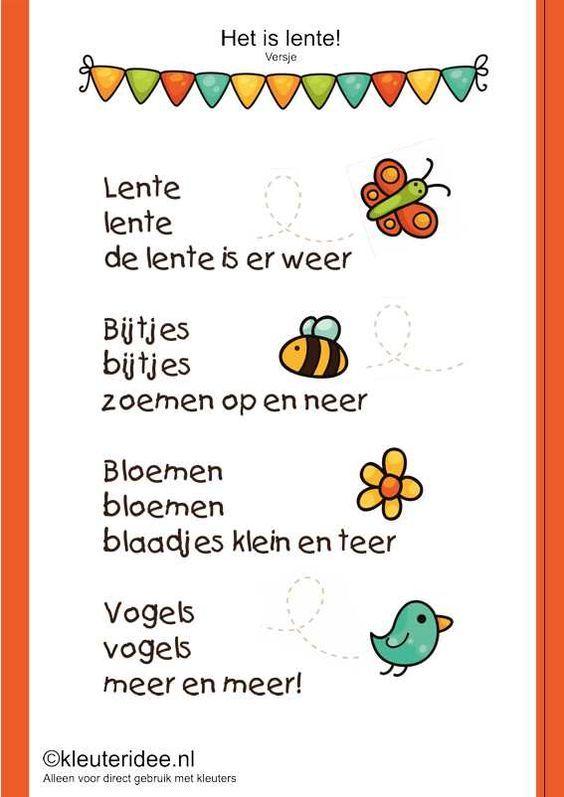 Lenteversje voor kleuters, kleuteridee.nl , thema lente, free printable.: