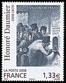 Honoré Daumier 1808-1879 Un guichet de théâtre - Timbre de 2008