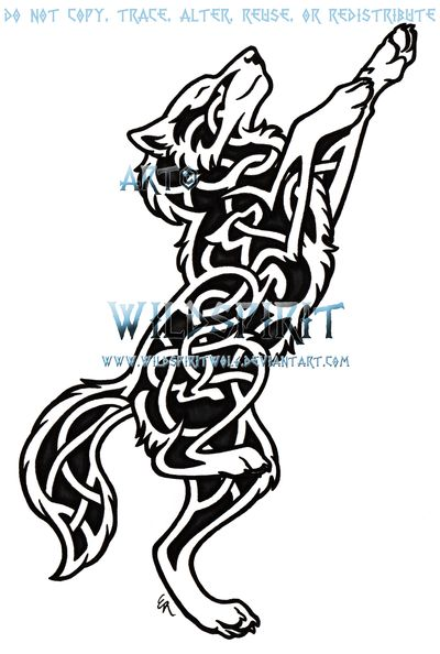 This is 's commissioned tattoo of a dancing wolf done in my knotwork style and with an internal dancing wolf. Please do not copy, trace, alter, or redistribute this anywhere in any way, shape, or f...