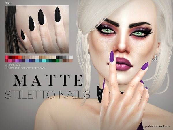 Matte Stiletto Nails N08 by Pralinesims at TSR via Sims 4 Updates