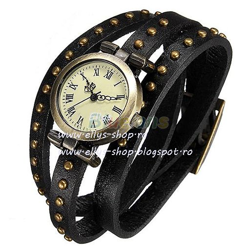 Ellys Shop: Ceas din piele, cu tinte bronz, vintage