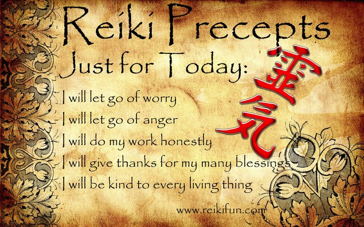 First Degree Reiki Training Rhode Island at Providence Zen Center - Providence Life Coaching Reiki Counseling - Reiki Precepts English