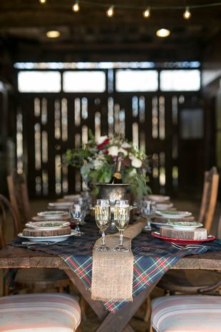 Reception tables for winter wedding - long banquet tables with plaid + burlap bunting table runners {Paisley Layne Photography}
