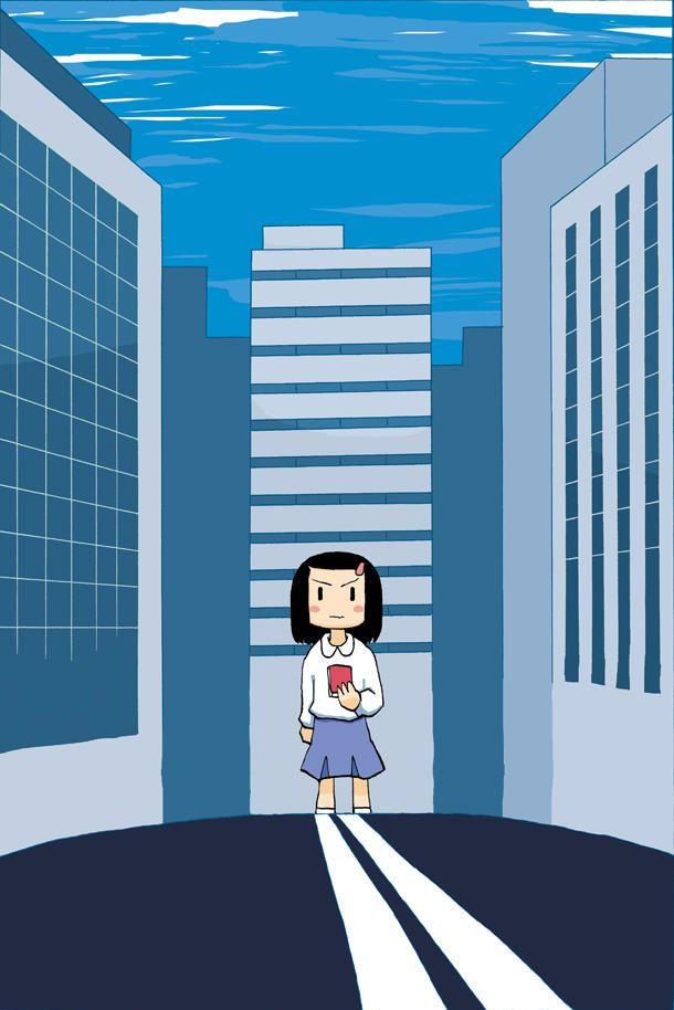 「オンノジ」第1話の扉絵。主人公の少女が、人がいなくなった街にたたずんでいる。(c)施川ユウキ/ヤングチャンピオン