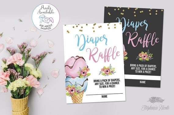 Eis Windel Gewinnspiel Baby Shower Ticket einfügen, Eis Gender Reveal, Druck …   – Products
