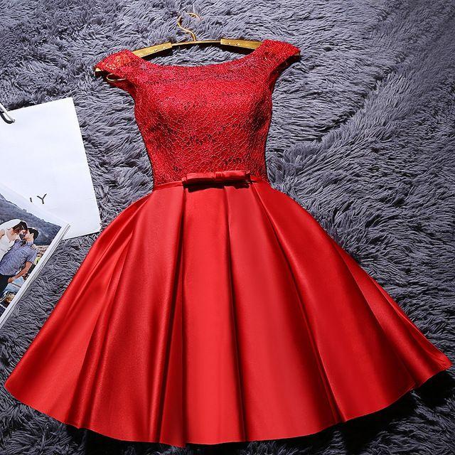 Novo 2017 vestido de festa a linha lace up lace curto formal party dress prom vestidos em Vestidos do baile de finalistas de Casamentos & Eventos no AliExpress.com | Alibaba Group