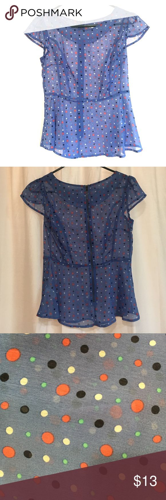 Sheer Peplum Polka Dot Top Great for work with a tank top underneath. Fits like a peplum with cap sleeves. Full zip back. Fits are white red and turquoise on blue. No trades please! Xhilaration Tops Blouses
