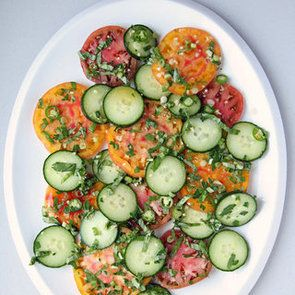 Tomatoe and Cucumber Salad with Green Onions - yum!
