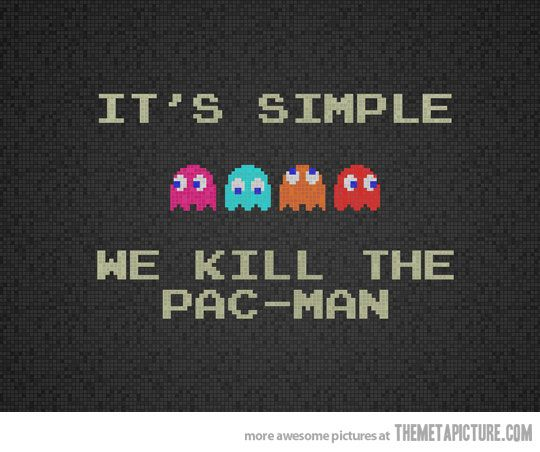 It's fairly simple.: Facebook Covers, Pacman, Pac Man, Wallpaper, Funny, Kill, Video Games