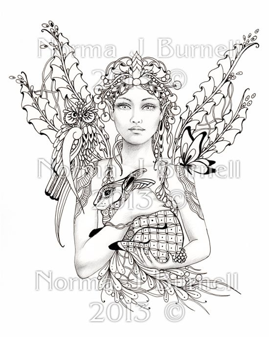 8x10 fairy tangle art print to color yourself by norma burnell forest fairies coloring books. Black Bedroom Furniture Sets. Home Design Ideas