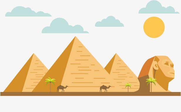 Cartoon Flat Egipto pirámide de Keops, Egipto Hitos, Piramide, La Gente De Sphinx Imagen PNG