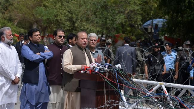 Pakistan's Prime Minister Nawaz Sharif speaks to media after appearing before an anti-corruption commission at the Federal Judicial Academy in Islamabad on June 15, 2017. (Photo by AFP)