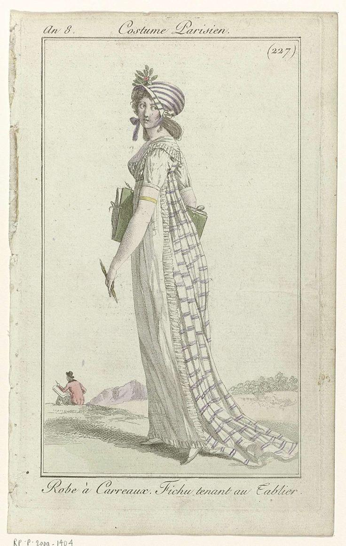 Journal des Dames et des Modes, Costume Parisien, 4 juillet 1800, An 8 (227) : Robe à Carreaux..., Anonymous, 1800