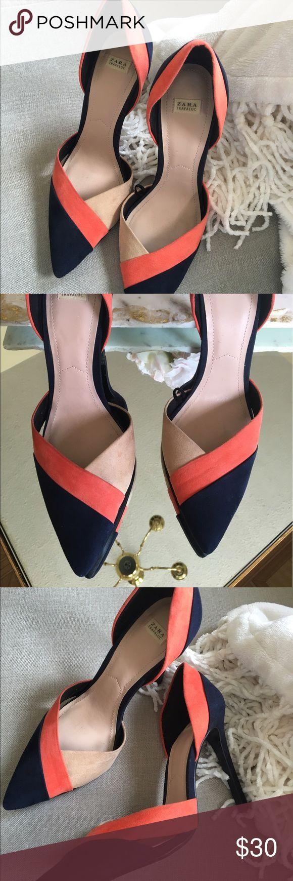 Zara heel Navy, orange and tan zara heel. Zara Shoes Heels
