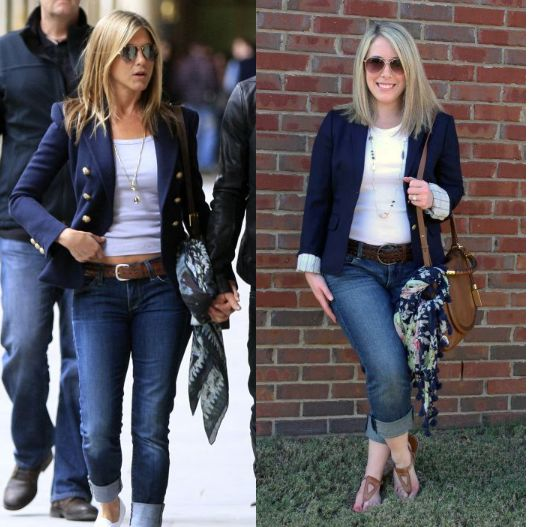 blue blazer and jeans...my inspiration for tomorrow night out on the town..cuff my dark wash skinny jeans, stilettos, t and fitted navy blazer...don't forget the scarf on the purse!