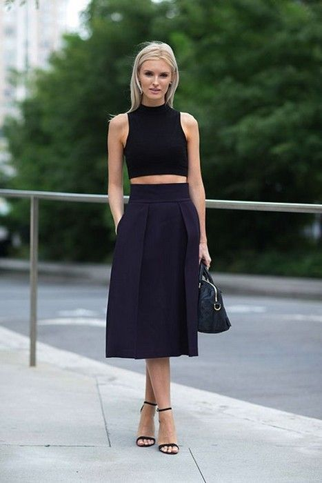 Crop top with skirt 20 Looks glamhere.com Blazerand Topshop Heavy Lux Capri Trousersand ASOS Kimono with Cut Out Backand Alice and Olivia Linder Box Pleat Skirt