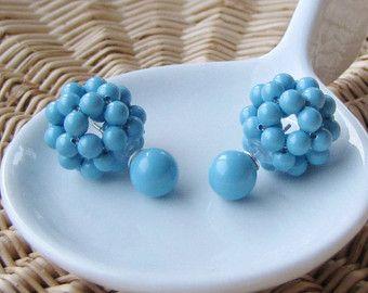 Double sided earrings turquoise stud earrings