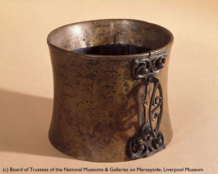 TANKARD FOUND PRESERVED IN A PEAT BOG AT TRAWSFYNYDD, GWYNEDD. (Over 2000 years old.)