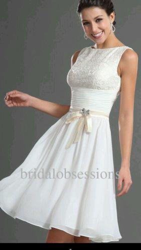 Chiffon and Lace Knee Length Wedding Dress Size 12 | eBay