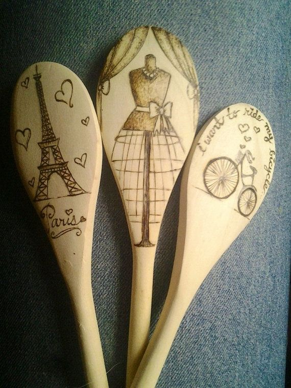 Wood Burned Paris Inspired Wooden Spoons
