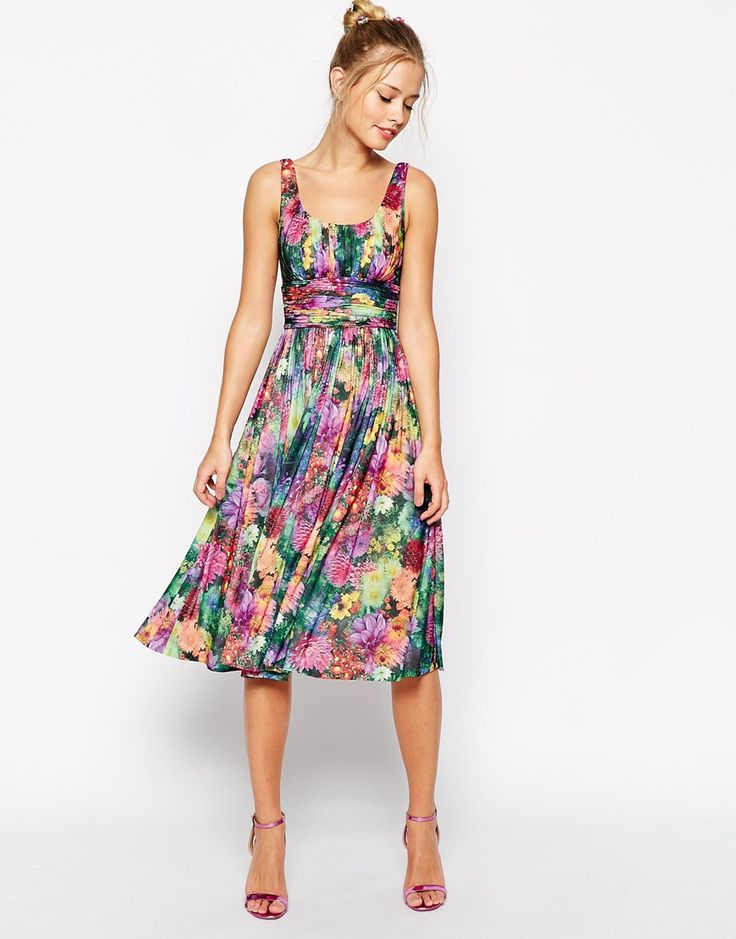 ASOS Digital Bloom Print Soft Midi Dress