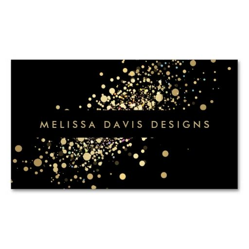 Faux Gold Confetti on Black Modern Business Card Pack Of Standard Business Cards. I love this design! It is available for customization or ready to buy as is. All you need is to add your business info to this template then place the order. It will ship within 24 hours. Just click the image to make your own!