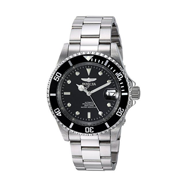 #mens #watches Invicta Pro Diver Men's Automatic Watch with Black Dial  Display and Silver Stainless Steel Bracelet 8926OB