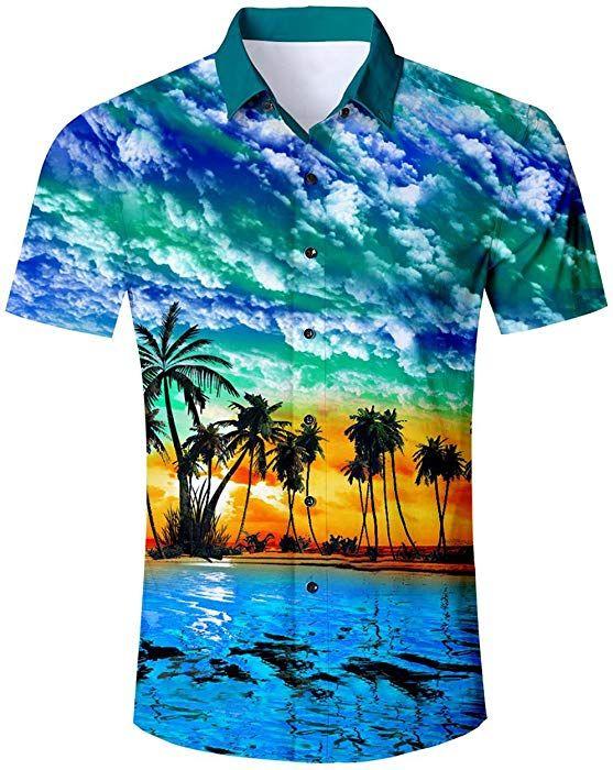 f539d1397a9 Goodstoworld Camisas Florales Camisa Hawaiana para Fiesta en la Playa de  Hawai Aloha Palmera Casual Elegante