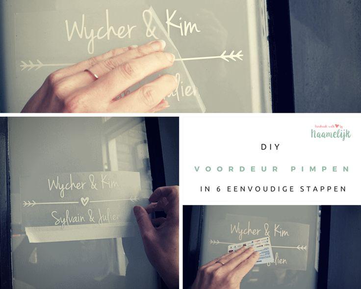 DIY: je voordeur pimpen in 6 eenvoudige stappen!  In een paar stappen een supergave, gepersonaliseerde voordeur! De postbode weet direct wie op jullie adres wonen. Handig stappenplan om zelf je voordeur te pimpen. DIY - doehetzelf - pimpen - restyle