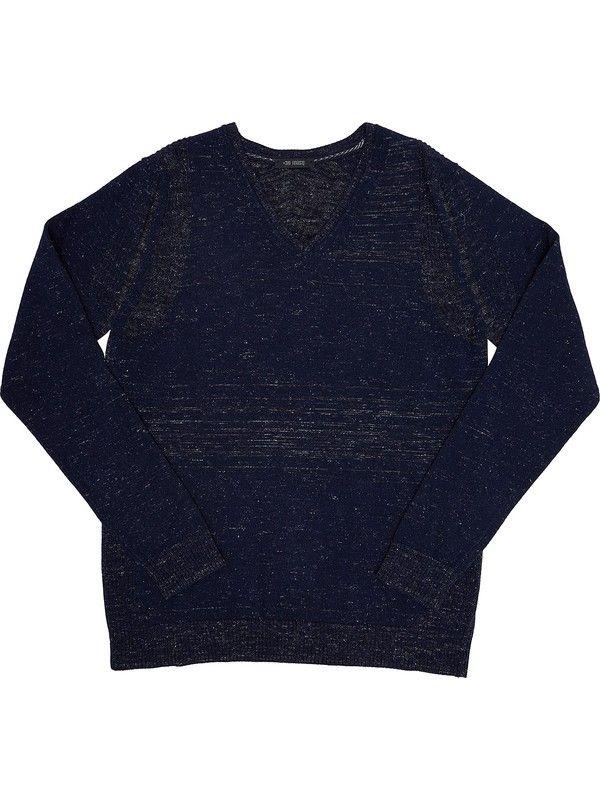 Men's blue sweater v-neck wool blend +39 Masq