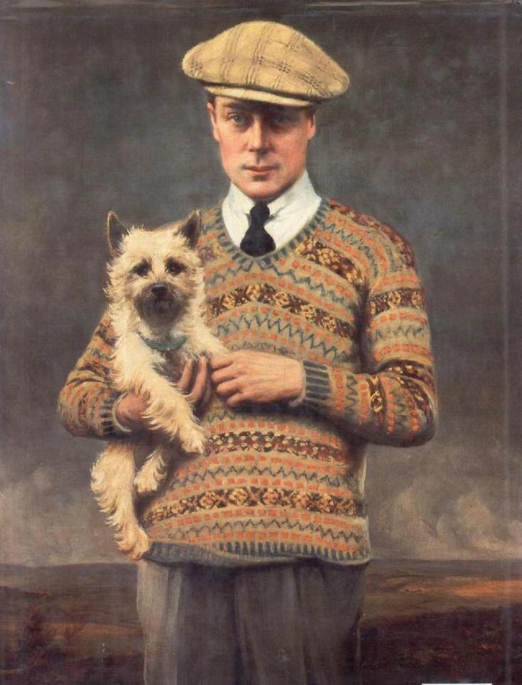 Portrait d'Edouard VIII avec avec un pull Fair Isle