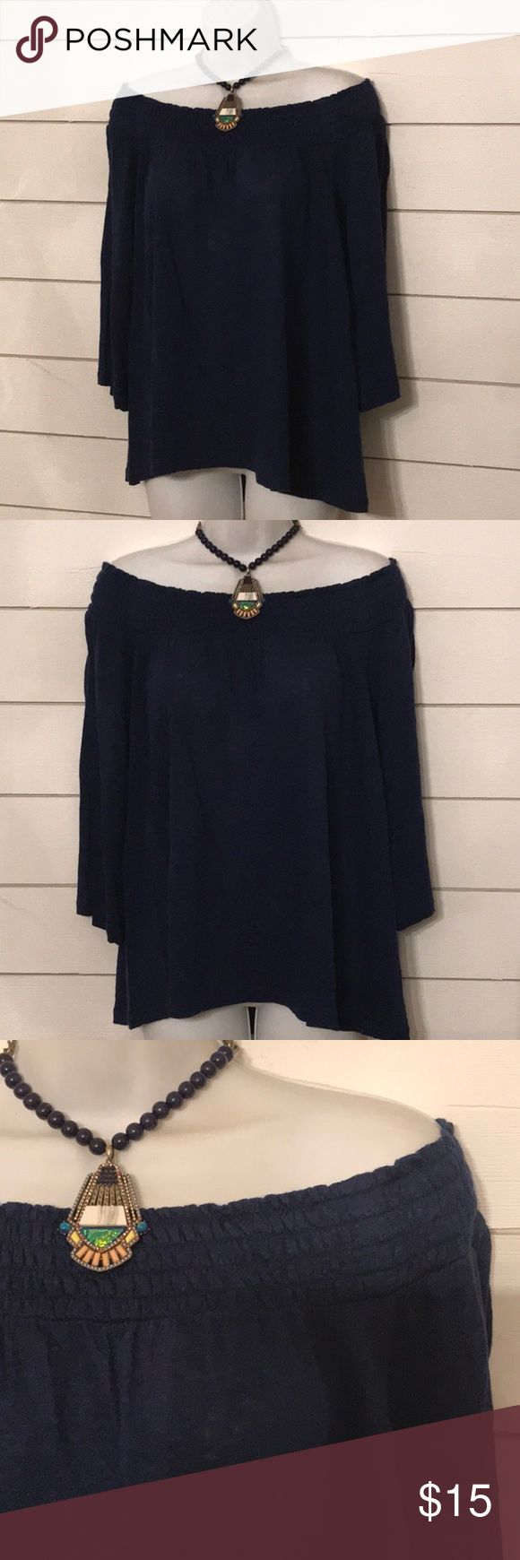 Caslon Drop Shoulder Navy Smocked Neckline Top Caslon from Nordstrom, navy, large petite, cotton knit, 3/4 sleeve, lightweight fabric, off the shoulder style top. Perfect condition.  Fast shipping, from a smoke-free home. Caslon Tops