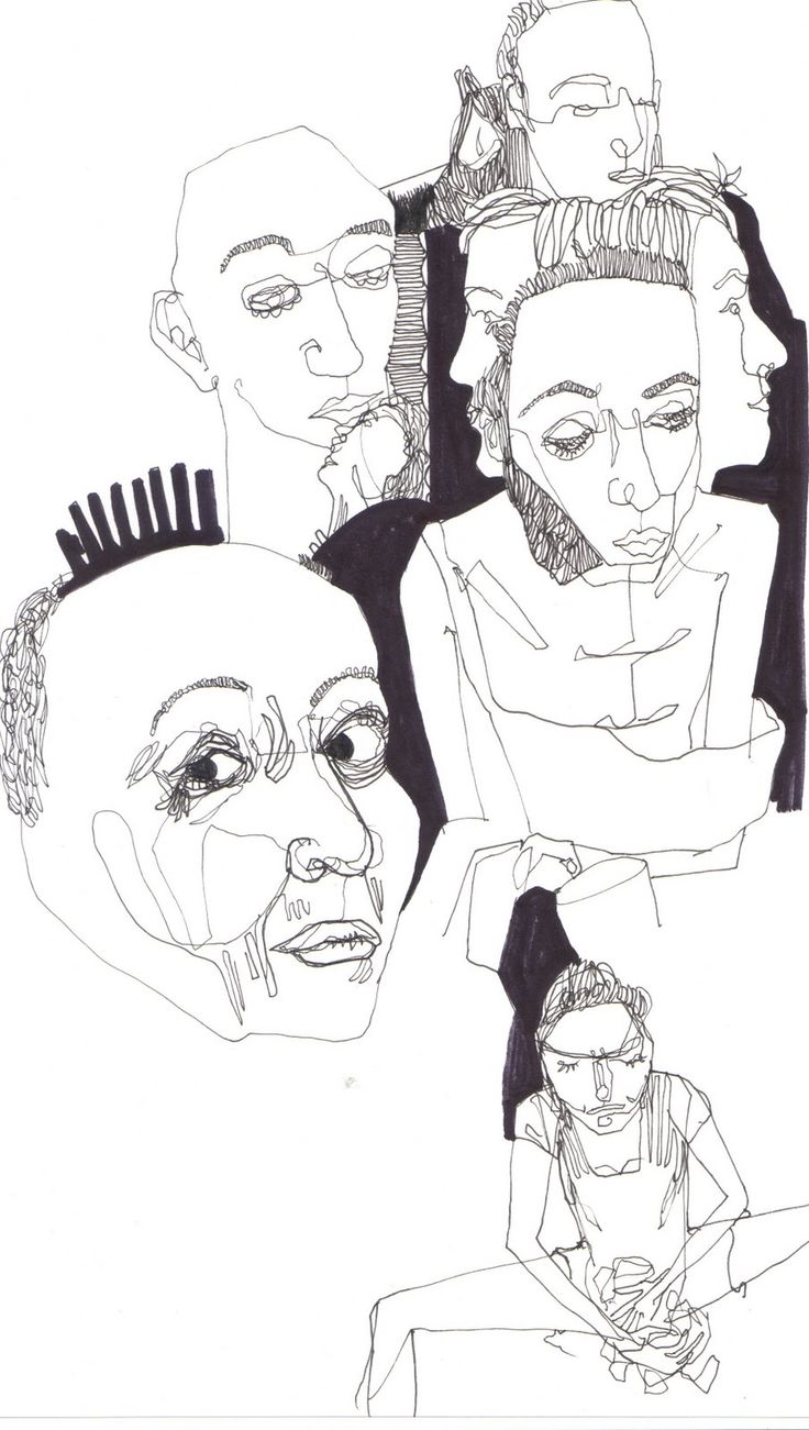 Fine Liner drawing, group of portraits. Fine Liner Pen and Permanent Marker. Nina Meahan.