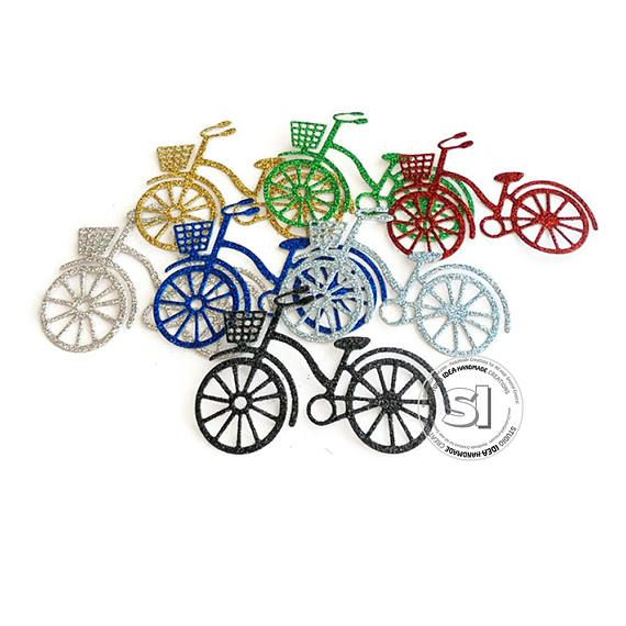 Glitter Bicycle Cut-outs Embellishments  Choose Your Colors