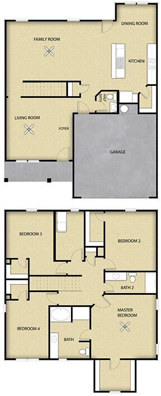 4 BR 2.5 BA Floor Plan House Design in Charlotte, NC
