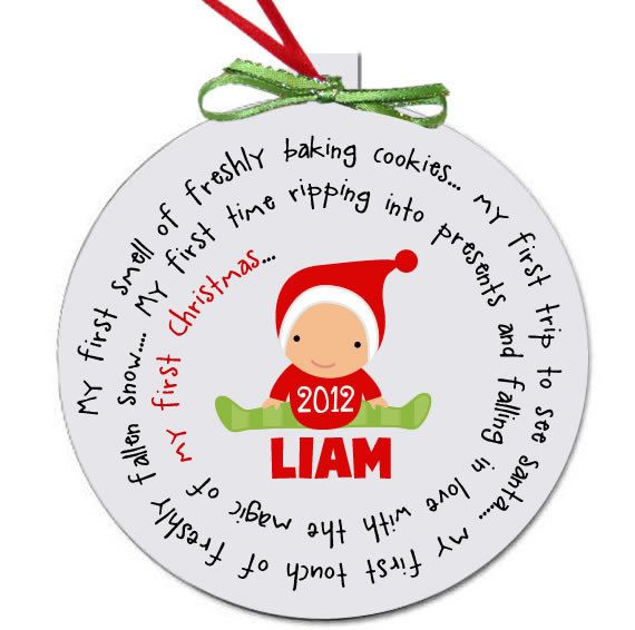 Baby's first Christmas ornament personalized for a girl or a boy - great custom new baby Christmas gift. $16.50, via Etsy.