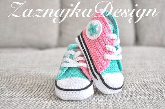 Pink/Mint Crochet baby sneakers