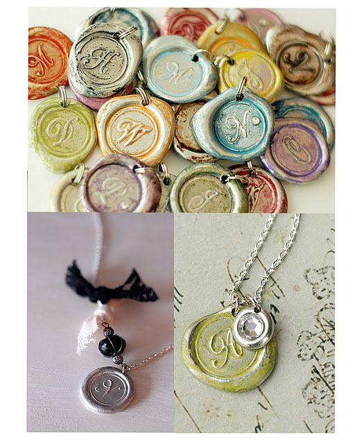 "Monogram wax seal necklace http://saltlakedesignergal.blogspot.com/search?q=monogram+wax http://www.ehow.com/how_5732818_make-wax-seal-pendant.html thin satin ribbon can replace polyester cord, or leather, if more masculine look is desired. For a metallic look, make the wax pendant as instructed,then press seal into a gold or silver inkpad and ""restamp"" the seal imprint, lining up seal image on the wax with the seal. ink will adhere to raised areas givingmetallic highlight to the image."