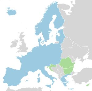 The Schengen Area in Europe.