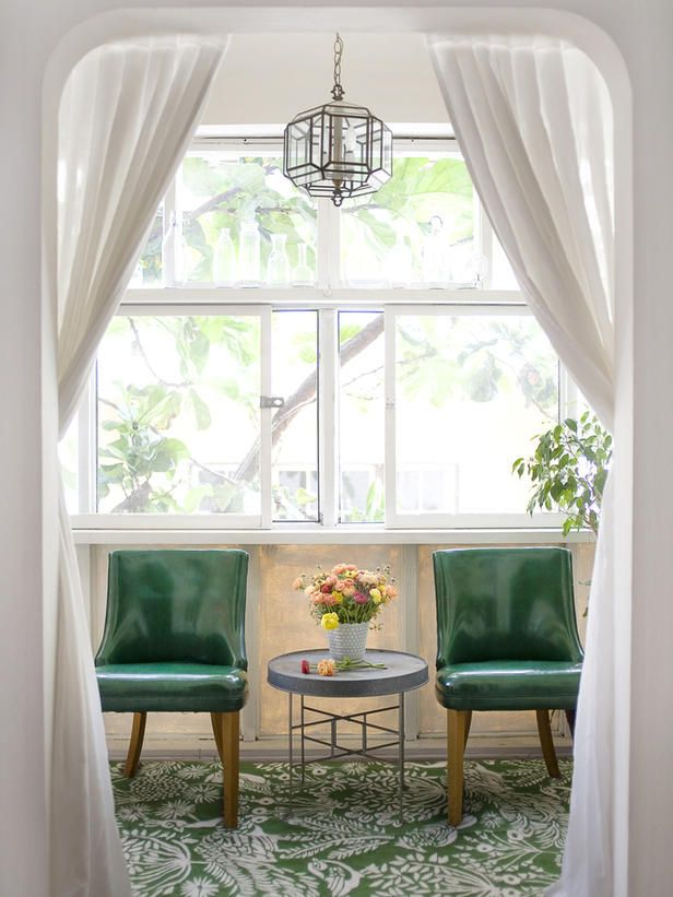 sunroom for twoLights Fixtures, Sunrooms, Emeralds Green, Sitting Area, Sitting Room, Emily Henderson, Vintage Green, Green Chairs, Sun Room